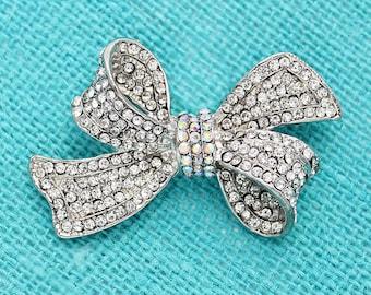 Rhinestone Bow Brooch, Crystal Rhinestone Brooch, Silver Wedding Brooches, Bridal Brooch, Cake Brooch, Bouquet Brooches, Jewelry Gift