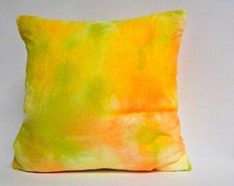 """Lemon, Citrus Green and Tangerine shibori pillow cover 14"""" square"""
