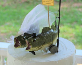 Bass Wedding Cake Topper, Fishing Wedding Cake Topper, Fisherman-Large Mouth Bass-Fisherman-Fishing Pole-Bride and Groom-