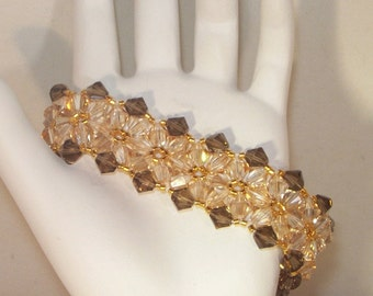 Swarovski Crystal Jewelry - Bride, Bridesmaids, Maid of Honor Bracelet - Any Color - Shown in Golden Shadow and Smoky Quartz