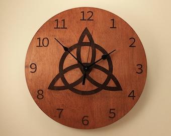 Trinity knot laser cut clock Celtic knot clock Wood clock Wall clock Wooden wall clock Home clock Irish clock Celtic clock Wood knot