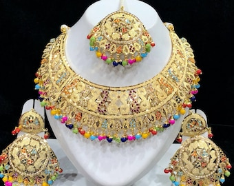 Punjabi Jadau Choker Necklace, Rani Haar W Earrings & Tikka, Indian Jewelry,Indian Bridal Jewelry, Bollywood,Ethnic,Polki Necklace,Moti Haar