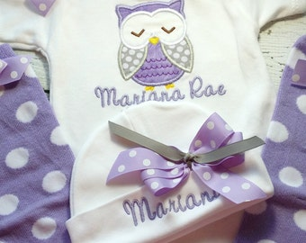 Personalized Take  Home outfit, coming home outfit for baby girl, monogrammed newborn baby clothes, baby owl outfit, lavender newborn gift