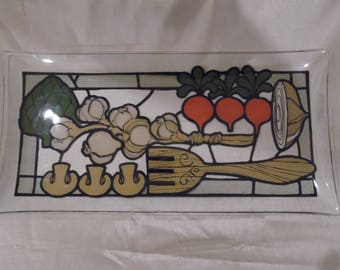 Retro Glass Vegetable  Serving Tray 1970's