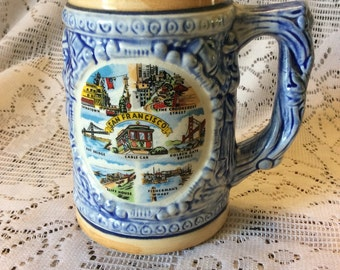 Vintage 1950's SNCO Imports San Francisco souvenir mug
