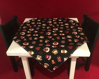 """American Girl or 18"""" Doll Square Tablecloth Coffee, Cappuccino, and  Tea Party Pattern"""