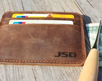 Father's Day Gift-Brown-Four slots-Leather Cards holder-Leather Purse-Name Carved-Customized Cards Holder-Hand Crafted-Personalized-Wallet