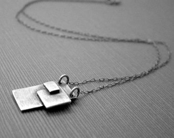 Small modern necklace for women, men, sterling silver, contemporary jewelry geometric jewelry industrial necklace, pendant, oxidized jewelry