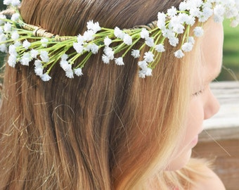 White baby's breath flower crown.Adjustable flower crown.Bridal flower crown..Newborn flower crown.Toddler flower crown.Adult flower crown.