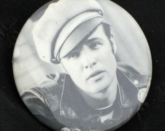 Wild One Marlon Brando Vintage Pin Back Icon Rebel Legend Motorcycle Outlaw 1950s PinBack Button Leather Movie Gift Hollywood Mid Century