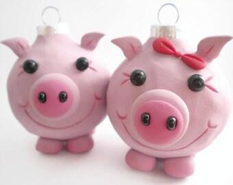 Pig Christmas Ornaments, FREE SHIPPING