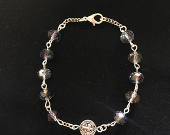 Handmade Glass Bead Single Decade Benedictine Medal Bracelet