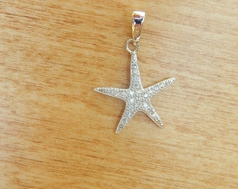 Sterling silver Starfish charm with cz , starfish  charm. pendant , (15x17mm)