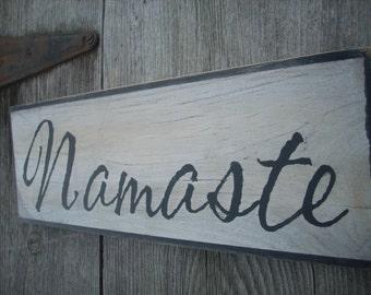 Namaste Yoga Wooden Painted Shabby Primitive Distressed Sign