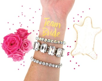 Team Bride Tattoo - Bachelorette Party Favor - Hen Party - Temporary Tattoos - Gold Foil - Flash Tattoo - Bachelorette Tattoos - Bride