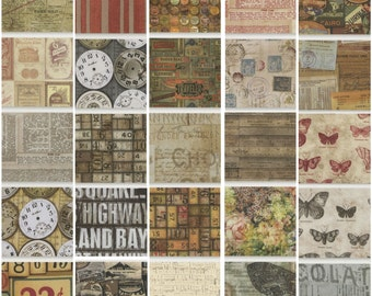 Tim Holtz - Eclectic Elements 10 inch Charm Pack - layer cake quilting cotton 42 pieces precut squares foundations lithography neutral