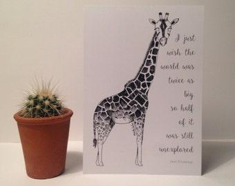A5 Giraffe, David Attenborough Print - giraffe - illustration - art - nature lover gift - gift