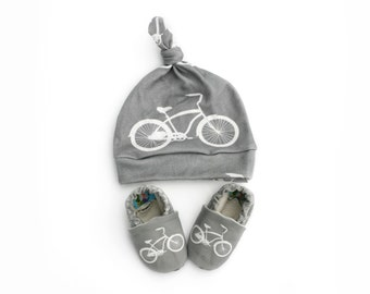 Bicycle Baby Shoes and Matching Hat- Eco Friendly Unisex Cruiser Gray Bike - Slippers and Knotted Baby Beanie - Baby Clothes Gift for Baby
