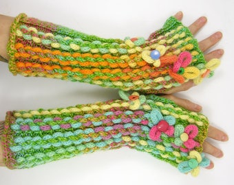 knit fingerless gloves knitted arm warmers knitted fingerless mittens Alice in Wonderland mismatched wearable Art OOAK PiaBarileAccessories