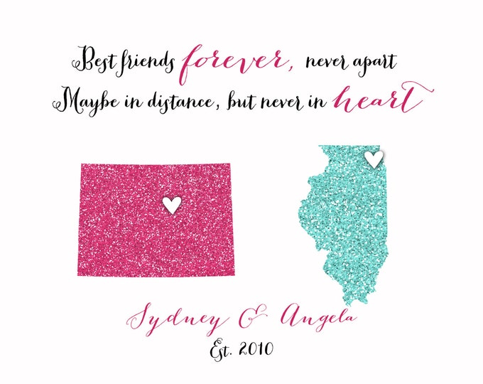 Long Distance Best Friend Print - BFF Gift - Birthday Gift for Best Friend Personalized Art Print Map BFF Farewell Sisters 8x10 Cousins
