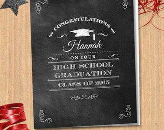 Congratulations Graduate Chalkboard Greeting Card, Editable PDF Instant Download