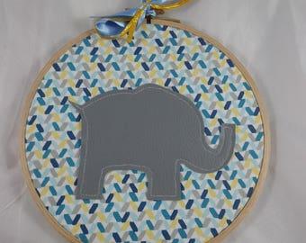 Tableau015 - Décoration murale bleu, jaune et éléphant