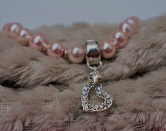 Baby Pink Beaded Bracelet, with removable heart charm