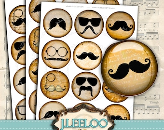 Digital collage MUSTACHE 2.5 inch circle - large digital images for jewelry magnet stickers vintage - instant download printable - tn328
