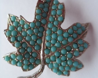 Vintage Signed Sphinx Small Silvertone/Turquoise Maple Leaf Brooch/Pin