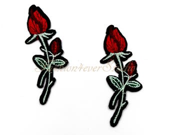 4ps Flower patch, Iron On Rose patch, Red Rose applique, Embroidered flower applique,  Embroider Rose  patches