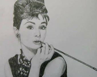 Audrey Hepburn A4 Drawing