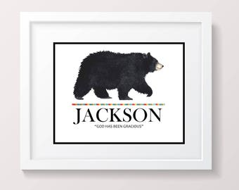 Custom personalized name wall art Baby name sign Child's Room Art Custom nursery decor Black Bear Art Woodland Theme Personalized name art