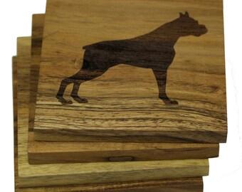 Boxer Dog Coasters - Set of 4 Engraved Acacia Wood Coasters