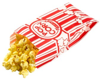 Retro Red & White Carnival Popcorn  Bags Circus Movie Sports Events Set of 50