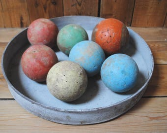 set wooden balls old antic wooden bowling balls