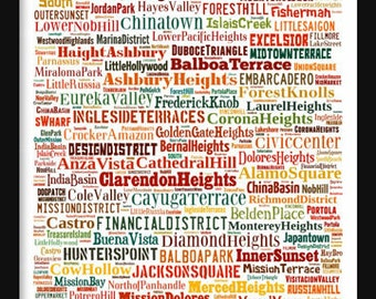 San Francisco Map - Typography Neighborhoods of San Francisco Poster Print