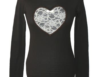 Longsleeve, lace, heart, brown