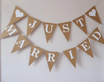Oversized Just Married Wedding Bunting Banner Decorations