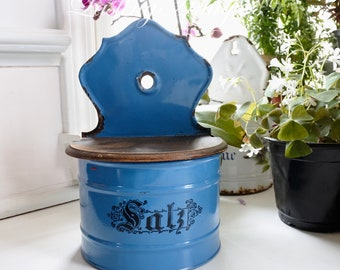 French Enamelware Salt Box, Made and Signed by St. Servais, c. 1900-1910, Blue and White, Kitchen Decor, Housewarming