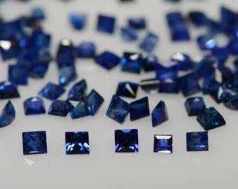 Ten Loose Sapphire Gemstones, Tiny 2mm Princess Cut, Natural, Genuine, Real, Blue Sapphire