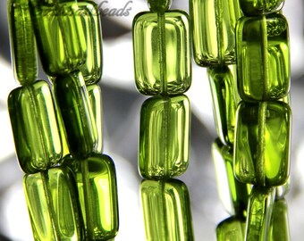 Rectangle Beads, Olivine Green W/Gloss Finish, 15 mm Czech Glass Rectangle Beads, 15X10mm, Accent Beads, Green Rectangle Beads, 12 Pieces