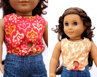 Fits like American Girl Doll Clothes - REVERSIBLE Front Tie Top in Peach | 18 Inch Doll Clothes