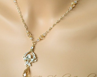 Crystal Golden Shadow Chandelier Bridal Necklace Bride Wedding Jewelry - JASMINE