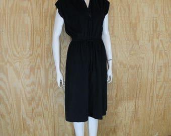 Vintage 1970's Casual Black Velour Sleeveless Midi Dress Small Medium S / M