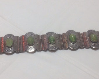 Lovely Sterling Silver and Carved Jade Bracelet