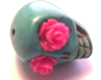Super Large Sugar Skull Bead 30 MM Skull With Pink Rose Eyes