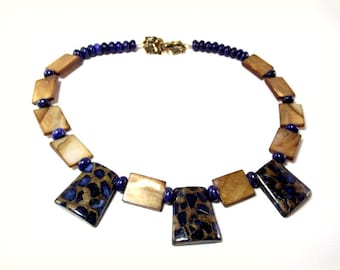 The Deep Blue -  Blue and Gold Stone Necklace and Earring Set Featuring Luscious Lapis Lazuli, MOP and Jasper, Trapazoid Necklace Set