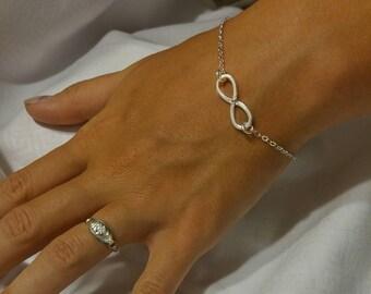 Infinity Bracelet Sterling Silver w/Cubic Zirconia
