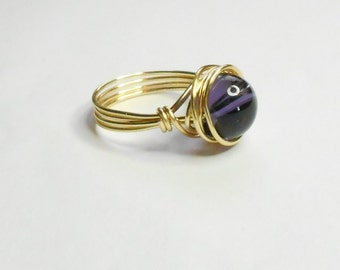 Tanzanite Luster Bead Gold Handmade Wire Wrapped Ring Sizes 1-14