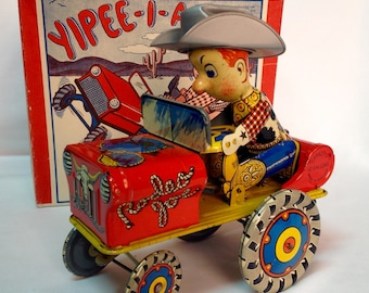 Vintage Tin Litho Windup Toy RODEO JOE made in England